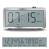 Old style liquid-crystal alarm clock with black numbers and glare metallic body isolated — Stockvektor