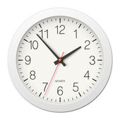 Classic round wall clock with white body — Stok Vektör