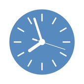 Clock icon in blue circle — Stock Vector