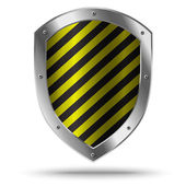 Classic metal shield with yellow pattern. Hazard symbol. — Stock Vector