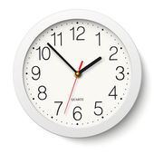 Round wall clock with white body isolated — Stock Vector