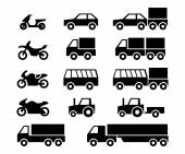 Motor vehicles icon set — Stock Vector