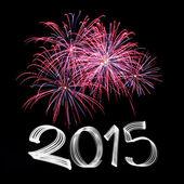 Fin de año 2015 con fuegos artificiales — Foto de Stock