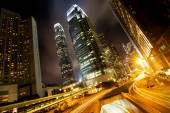 Hongkong business center op nacht — Stockfoto