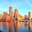 Boston Skyline with Financial District and Boston Harbor at Sunrise Panorama — Stock Photo #69249219