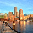 Boston Skyline with Financial District and Boston Harbor at Sunrise Panorama — Stock Photo #69249305
