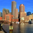 Boston Skyline with Financial District and Boston Harbor at Sunrise — Stock Photo #69249337