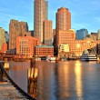 Boston Skyline with Financial District and Boston Harbor at Sunrise — Stock Photo #69254755