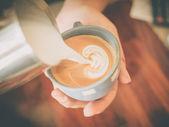 Coffee latte art in coffee shop — Zdjęcie stockowe