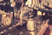 Coffee machine in vintage color toned — Stok fotoğraf