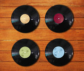 Records on the wood desk — Stock Photo