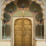 Art work in City Palace. Jaipur, Rajasthan, India — Stock Photo #56892377