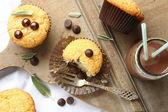 Magdalenas libre de gluten caseras deliciosas con gotas de chocolate — Foto de Stock