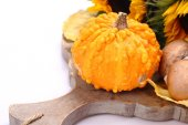Autumn mini pumpkin on old wooden board — Stock Photo