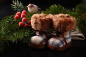 Christmas composition with winter boots — Stock Photo