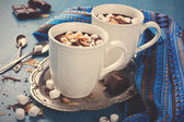 Two cups of chocolate almond milk — Stockfoto