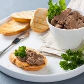 Healthy chicken liver pate with parsley — Stock Photo