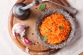 Delicious and spicy carrot spaghetti  — Stock Photo