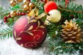 Christmas composition with christmas ball — Fotografia Stock