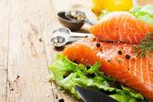 Delicious salmon fillet, rich in omega 3 oil — Stock Photo
