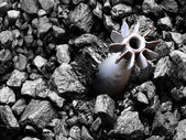 Unexploded projectile struck the coal. — Stock Photo