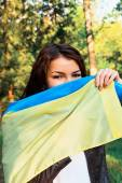 Kadın Ukrayna bayrağı — Stok fotoğraf