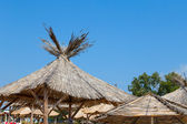 Sky beach parasol — Stock Photo