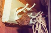 Padlock on hanger — Stock fotografie