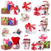 Flowers gift box bow ribbon — Stock Photo