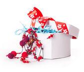 Gift box bow christmas balls  — Stock Photo