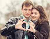 Couple holding hands heart — Стоковое фото