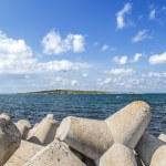 Concrete breakwaters on the shore — Stock Photo #65672003