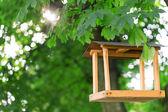 Wooden bird feeder — Stock Photo