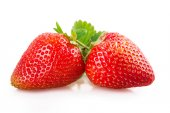 Two strawberries on white background — Stock Photo