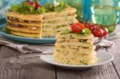 Zucchini savory layered cake — Stock Photo