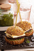 Vegetarian burger with cheese, eggplant and pesto — Stock Photo