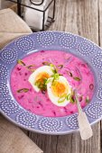 Cold soup with beetroot and kefir — Stock Photo