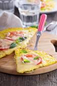 Healthy pizza on cauliflower crust — Stock Photo