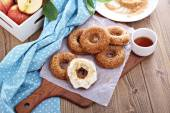 Apple baked donuts with glaze — Stock Photo