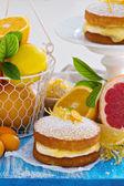 Citrus Victoria Sponge Cake with Lemon Curd — Stock Photo