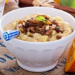 Pumpkin millet porridge with apple and raisins — Stock Photo #55467989