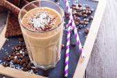 Coconut coffee chocolate smoothie — Stock Photo