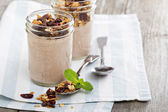 Chocolate smoothie with granola for breakfast — Stock Photo