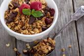Chocolate granola for breakfast — Stock Photo