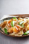 Rice noodles with tofu and carrot — Stockfoto