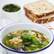 Minestrone soup with spring green vegetables — Stock Photo #75610453