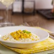 Vegan risotto with baked corn — Stock Photo #77359660