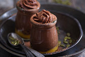 Healthy vegan chocolate pumpkin pudding — Stock Photo