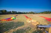 Preparing for flight  Hot air balloon in Laos — Stock Photo