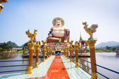 Smiling Buddha of wealth statue on Koh Samui, Thailand — Stock Photo